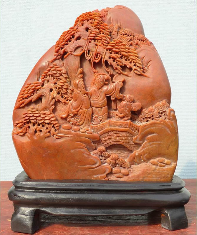 Chinese shoushan stone relief carving