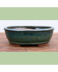 "Green Glazed Oval Bonsai Pot - 7"""