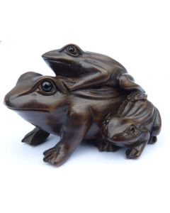 Hand Carved Boxwood Netsuke - Frogs