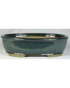"Green Glazed Oval Bonsai Pot - 10"""