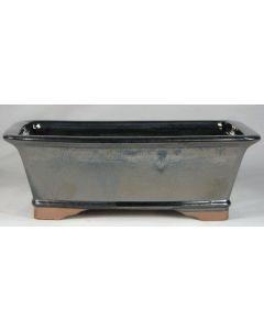 "Black Glazed Rectangular Bonsai Pot - 10"""