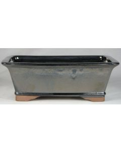 """Steely Blue Glazed Rectangular Bonsai Pot - 8"""" - Colour can vary to some degree from that shown."""