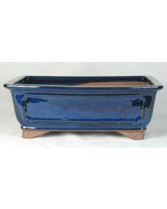 "Blue Glazed Rectangle Bonsai Pot - 12"""