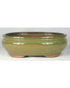 """Olive Glazed Oval Bonsai Pot - 12"""" - Colour may vary to some degree from that shown."""