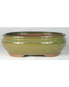 """Olive Glazed Oval Bonsai Pot - 12"""""""