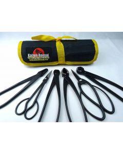Bonsai Tools Kit - 6 Piece- Large Black Carbon Steel Tools