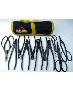 Bonsai Tools Kit - 11 Piece Black Carbon Steel Tools