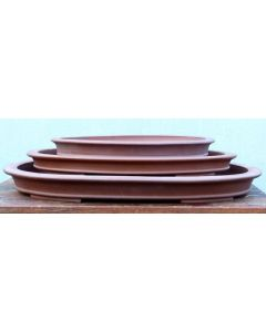 "Very Shallow Unglazed Oval Bonsai Pot - 18"""