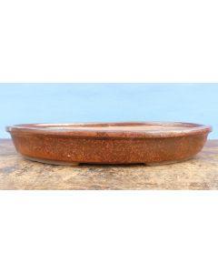 Copper Glazed Shallow Oval Bonsai Pot