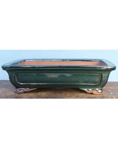 "Green Glazed Quality Rectangular Bonsai Pot - 15"""