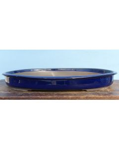 "Japanese High Quality Blue Glazed Oval Bonsai Pot 18"""