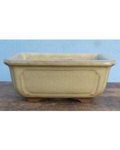 "Cream Glazed Rectangular Bonsai Pot - 7"""