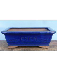 "Dark Blue Glazed Rectangular Bonsai Pot - 10"""