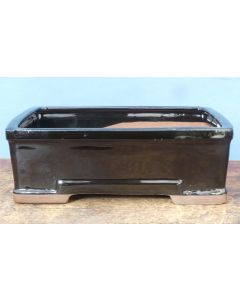 """Black Glazed Rectangle Bonsai Pot - 8"""" - Colour can vary to some degree from that shown."""