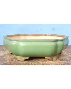 "HIGH QUALITY Hexagonal Glazed Bonsai Pot - 11"""