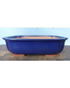 "HIGH QUALITY Rectangular Blue Glazed Bonsai Pot - 12"""