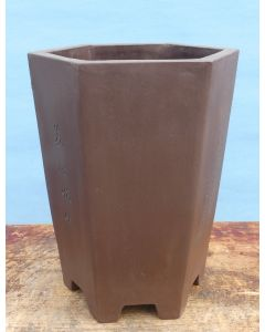 """Cascade Style Hexagonal Deep Unglazed Bonsai Pot 8"""""""
