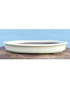 "Japanese High Quality Cream Glazed Oval Bonsai Pot 16"""