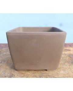Square Cascade Style Unglazed Japanese Made Bonsai Pot - 4.5""