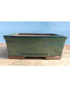 """Green Glazed Deep Rectangular Bonsai Pot - 7"""""""