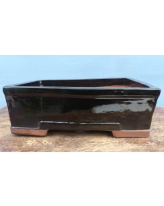 "Black Glazed Deep Rectangular Bonsai Pot - 12"" - SECOND QUALITY"