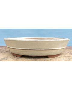 "Cream Glazed Oval Bonsai Pot - 12"""