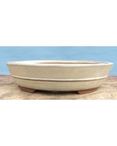 "Cream Glazed Oval Bonsai Pot - 10"""