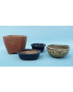 Miniature Glazed Bonsai Pots 4 Piece Set