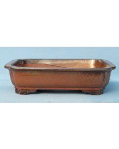 "Copper Glazed Rectangular Bonsai Pot - 12"""