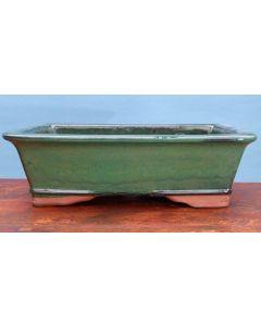 "Green Glazed Rectangular Bonsai Pot - 15"""