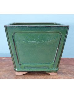 "Glazed Deep Square Bonsai Pot - 8"""