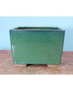 "Green Glazed Deep Square Bonsai Pot - 5"""