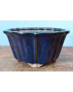 "Blue Glazed Round Bonsai Pot - 7"""