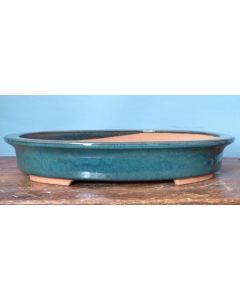 "Large Shallow Glazed Oval Bonsai Pot - 16"""