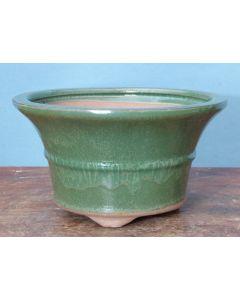 "Green Glazed Deep Round Bonsai Pot - 7"""