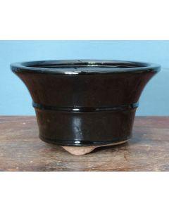 "Black Glazed Round Bonsai Pot 7"""