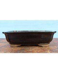 "Cream Glazed Rectangular Bonsai Pot - 10"""
