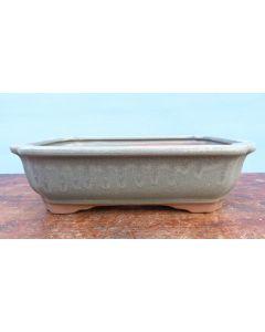 "Green Glazed Rectangular Bonsai Pot - 10"""