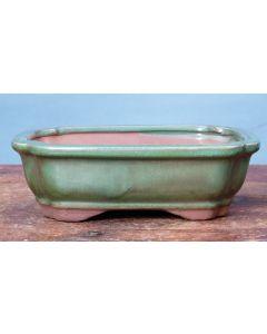 "Green Glazed Rectangular Bonsai Pot - 7"""