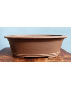 "Deep Oval Unglazed Bonsai Pot - 12"""