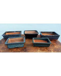 Glazed Bonsai Pots Clearance - 5x Used Bonsai Pots - Set 1