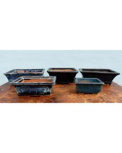 Glazed Bonsai Pots Clearance - 5x Used Bonsai Pots - Set 2