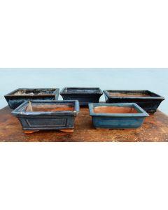 Glazed Bonsai Pots Clearance - 5x Used Bonsai Pots - Set 4