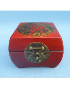 Chinese Dragon Hand Decorated Leather Lacquer Box