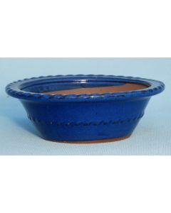 "Blue Glazed Round Bonsai Pot 8"" 200mm"