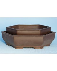 "Hexagonal Unglazed Bonsai Pot - Large - 12"""