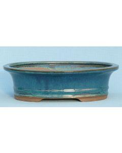 """Bonsai Pot - Blue Glazed Oval - 10"""""""
