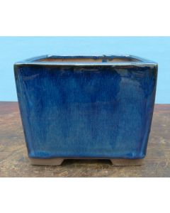 "Blue Glazed Deep Square Bonsai Pot - 7"""