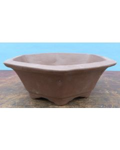 "Bonsai Basics - Hexagonal Unglazed Bonsai Pot - 7"" - Being hand made basic quality some finish, colour and size variations, minor distortions and marks can occur."