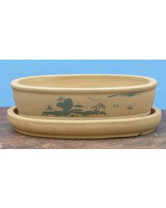 Decorated Oval Unglazed Bonsai Pot With Under Tray